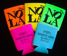 Koozies- NOLA- New Orleans Bachelorette Party by HeadyMementos on Etsy https://www.etsy.com/listing/204845601/koozies-nola-new-orleans-bachelorette