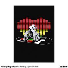 Analog DJ party invitation