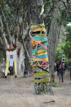 This is happening in the next yard I have. Mr Brainwash, Banksy, Site Art, Outside Lands, Free People Blog, Hippie Love, Tree Trunks, Yarn Bombing, Photo Diary
