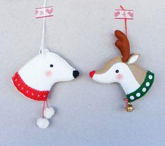 PDF pattern - Reindeer and Polar bear - Felt Christmas ornaments, hand sewing pattern, DIY project