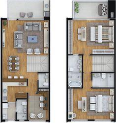 Planta tipo 2 - 2 suítes, banheiro master + home office