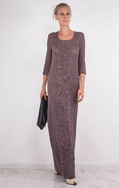 Crochet mocha dress KNIT maxi Dress irish by CrochetDressTalita