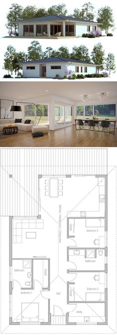 Small House Plans, Single story home plans