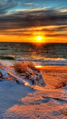 Snowy, Beach, Sunset, Ocean, Landscape