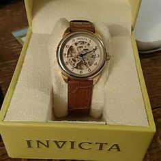 One Day Markdown! Invicta Women's skeleton watch Price will go back up tomorrow 4/13. 18k gold plated face, hand wind movement. Reptile pattern leather strap. Water resistant to 100ft. You must wind this watch up yourself! Invicta Accessories Watches