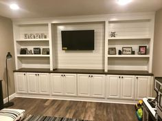 shiplap basement walls Rugs is part of The Next Big Project Shiplap In The Basement Family Room - Shiplap entertainment center Living Room Entertainment Center, Diy Entertainment Center, Entertainment Weekly, Wedding Entertainment, Entertainment System, Basement Walls, Basement Bedrooms, Basement Ideas, Tv Walls