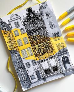 architecture sketchbook Town Houses Architectural Drawings with Yellow Highlights. Click the image, for more art by Yuliia Zvetkova. Marker Kunst, Marker Art, Architecture Drawing Sketchbooks, Architecture Art, Architecture Concept Drawings, Sketchbook Inspiration, Art Sketchbook, Travel Sketchbook, Drawings With Meaning