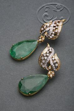 Jewellery Shops Milton Keynes little Jewellery Jobs In Qatar while Emerald Earrings Thread Gold Jhumka Earrings, Jewelry Design Earrings, Gold Earrings Designs, Gold Jewellery Design, Emerald Earrings, Emerald Jewelry, Pendant Jewelry, Stud Earrings, Jhumka Designs