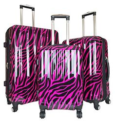 Luggage Sets Collections | Trendy Flyer 3pc Luggage Set Travel Hardside Rolling 4wheel Spinner Carryon Zebra >>> You can find out more details at the link of the image. Note:It is Affiliate Link to Amazon.