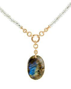 "Dana Kellin Labradorite Pendant Necklace Moss aqua beaded necklace with oval labradorite pendant 14k yellow gold 30"" chain with 2"" drop pendant 1.25""L x 0.875""W pendant Lobster clasp closure"