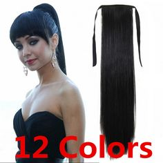 Fake ponytail extension real hair ponytail straight black brown blond synthetic hair piece heat resistant fiber  22inch 100g ** Find out more about the great product at the image link.