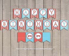 Red Wagon Birthday Banner / Red Wagon Banner by LittleApplesDesign, $5.00
