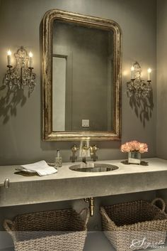 powder room with granite countertop and zinc sink basin (LOVE!)