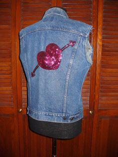 Vintage 80s Levis Jean Jacket with Pink by flashytrashhag, $30.00