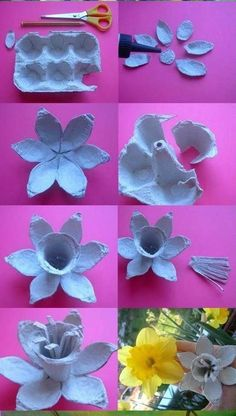 Flower box egg # flower box The post Flower box egg # flower .- Blumenkasten-Ei The post Blumenkasten-Ei appeared first on DIY Projekte. Paper Flowers Diy, Flower Crafts, Fabric Flowers, Origami Flowers, Craft Flowers, Egg Carton Art, Egg Carton Crafts, Egg Box Craft, Easter Crafts