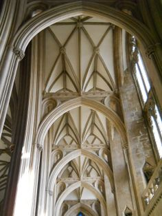 section of south choir aisle built 1298 in Bristol Cathedral.