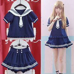 "Color: pink. navy blue.  Size:free size.  Clothes length:50 cm/19.50"". Bust:90 cm/35.10"". Cuff:30 cm/11.70"". :Shoulder width:40 cm/15.60"".Skirt length:35 cm/13.65"". Waist:62-88 cm/24.18"".-34.32"". Hips:132 cm/51.48"".  Fabric material: cotton.  Tips: *Please double check above size and co..."