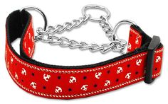 Mirage Pet Products Anchors Nylon Ribbon Martingale Collar for Pets, Medium, Red -- See this great product.