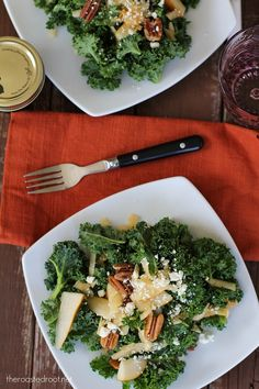 Massaged Kale Salad with Apple, Pear, Gorgonzola and Roasted Pecans # ...