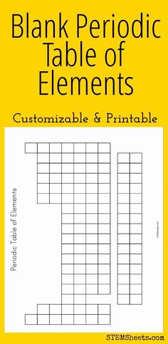 Blank Periodic Table of Elements - Customizable and Printable for high school chemistry back to school ideas. Chemistry Periodic Table, Chemistry Classroom, High School Chemistry, Chemistry Lessons, Teaching Chemistry, Science Chemistry, Middle School Science, Physical Science, Science Lessons