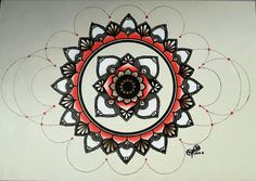 Large Brown and Red Dots Mandala painting made with Chameleon pens, Graph'it markers and acrylic paint  50x33cm