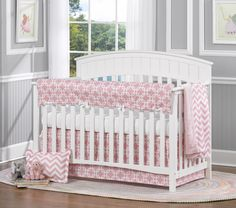 Pink Metro and Chevron Baby Bedding. Your baby girl will love this bedding set! Also available with bumpers. Find it all at www.lizandroo.com #madeinUSA