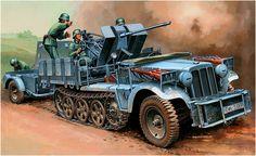 Sd.Kfz. 10-4 Demag D7 mit 2 cm Flak 30 + remolque Sd.Anh. 51. Andrzej Deredos El half-track porta un rack para los 6 Mauser 98K de la dotacion (comandante, tres cargadores y dos artilleros) y un contrapeso montado en el parachoques delantero (algunos fabricados de fabrica). El Sd.Kfz. 10-4 no llevaba equipo de radio, en su lugar el equipamiento de comunicaciones incluía un set de banderas de señales y una pistola de bengalas LP ó LP (Walther) de 27mm. Más en www.elgrancapitan.org/foro/