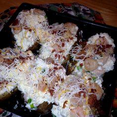 Shrimp Stuffed Baked Potato Stuffed Baked Potatoes, Food Truck, Vegetable Recipes, Cauliflower, Cravings, Shrimp, Side Dishes, Good Food, Lunch