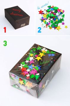 Novel Confetti Wrap::Cover box in solid color wrapping paper, apply spray adhesive to top of package, sprinkle with confetti, write message (if you want) and cover with clear cellophane or plastic wrap!
