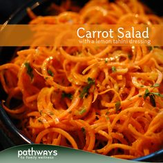 Raw Carrot Salad with a Lemon Tahini Dressing. #vegetarian #glutenfree