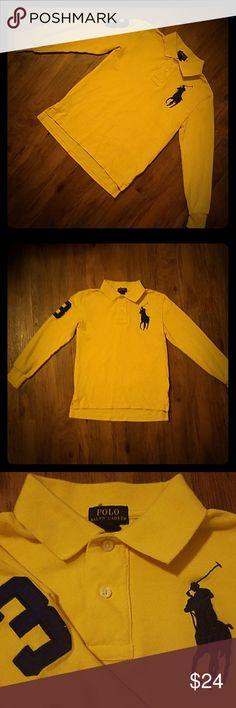 Ralph Lauren Polo Boys Yellow Long Slv Polo Shirt Boys size Small 8 Ralph Lauren Polo Long Sleeve Polo Shirt.  Color is a deep golden yellow ( photos accurate) with the new emblem that is very Big of Polo rider in Navy Blue thread.  Also, number 3 navy blue fabric patch sewn on the upper right arm.  Was purchased new and worn only by my son.  It is in Good to Very Good previously owned condition with stains, rips, holes or tears noted and mild to moderate normal wear piling. Polo by Ralph…