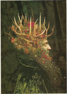 ✯ The Holly King and the Oak King are often portrayed in familiar ways: the Holly King frequently appears as a woodsy version of Santa Claus; He dresses in red, wears a sprig of holly in his tangled hair, and is sometimes depicted driving a team of eight stags. The Oak King is portrayed as a fertility god, and occasionally appears as the Green Man or other lord of the forest. .:☆: