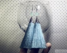 DETAILS ░ Tassel earrings, silk earrings, blue earrings, long earrings, bunch earrings, dusty blue earrings, silver earrings, fancy earrings, festive earrings, tassel silk earrings, thread earrings, blue tassel earrings, silvery earrings, cascade earrings, dusty blue tassels, earrings with