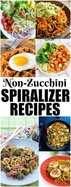 Use these Non-Zucchini Spiralizer Recipes to expand your love for your spiralizer. Everything from carrots to sweet potatoes to broccoli stems can be spiralized and added to healthy meals!