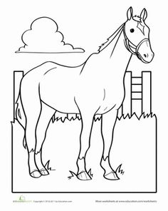 Preschool Animals Worksheets: Horse Coloring Page Farm Animal Coloring Pages, Coloring Book Pages, Coloring Pages For Kids, Coloring Sheets, Adult Coloring, Free Coloring, Horse Camp, Horse Crafts, Farm Theme