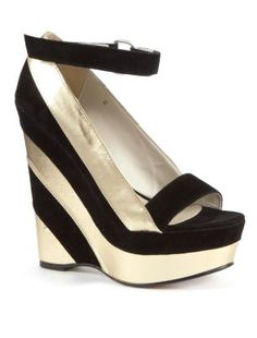 Ravel Kendra Gold and Black Wedges
