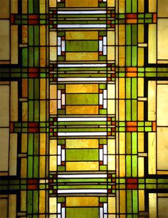 stained glass panel designed by Frank Lloyd Wright