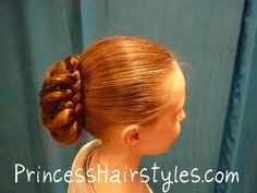 "Please join us on facebook: http://facebook.com/princesshairstyles    This braided updo would be great for a special occasion such as prom, a dance, church, communion, wedding, flower girl, homecoming, recital, ballet, etc.  I love the look of the braid wrapping around the piecey messy bun. I first saw this style on ""goldilocksnme"" The technique..."
