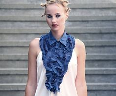 Pleated peacock blue huge jabot  One of a kind by Vietto on Etsy, $129.00