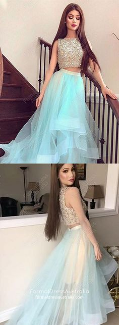 Blue Prom Dresses Long, Two Piece Prom Dresses A Line, Sparkly Prom Dresses Beading, Modest Prom Dresses For Teens Senior Prom Dresses, High Low Prom Dresses, Prom Dresses For Teens, Best Prom Dresses, Beautiful Prom Dresses, Prom Dresses Blue, Cheap Prom Dresses, Formal Evening Dresses, Party Dresses