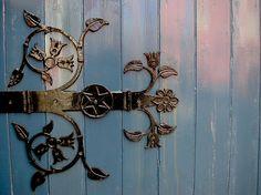 Decorative blue hinge