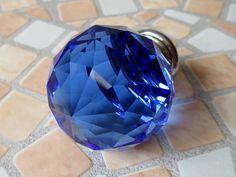 Blue Glass Dresser Knobs / Crystal Drawer Knobs Pulls Handles Sparkle / Kitchen Cabinet Knobs Pull Handle Hardware Diamond Cut Knob Silver