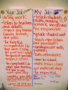 I could create this with each statement as a separate strip of paper, and then the kids can organize it as they decide who is responsible for what. I would also make some blank ones for us to add.  This would would be done in groups and shared as a whole class.