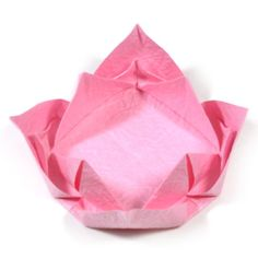 page Instructions to learn how to make an easy origami lotus flower. Origami Cube, Origami Mobile, Origami Heart, Diy Origami, Origami Paper, Oragami, How To Make Origami, Useful Origami, Origami Christmas Tree Card