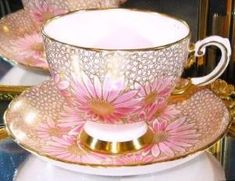 Tuscan GOLD CHINTZ PAINTED FLORAL PINK Tea Cup and Saucer HP Teacup by marietta