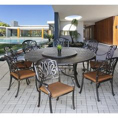 Costco Tahoe 9 Piece Oval Dining Set With Lazy Susan