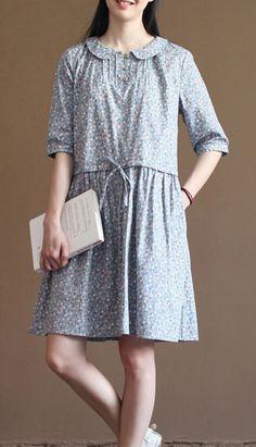 blue floral cotton sundress half sleeve fit flare dresses
