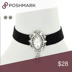 "Chocker Necklace set Clear Glass & Rhinestone / Black Suede / Post (earrings) / Choker Style / Necklace & Earring Set •   ChiqStyle No : 00532790 •   LENGTH : 12"" + EXT •   DROP : 3/4"" W •   POINT ACCESSORY : 1 1/4"" X 2 1/2"" •   SILVER/CLEAR Jewelry Necklaces"