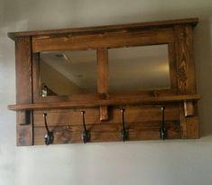 Perchero Perchero de pared Perchero espejo rústico por LilBitRustic