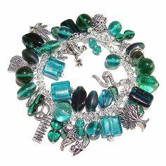 Tibetan Silver Charm Bracelet w/ Teal Green Beads